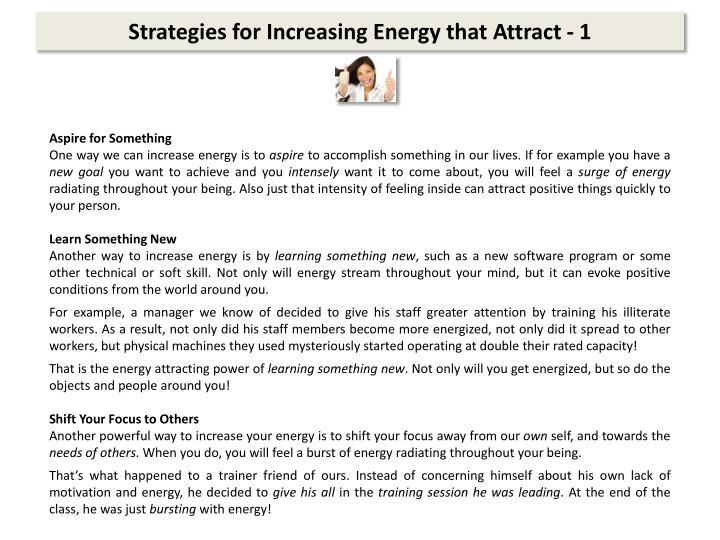 Strategies for Increasing