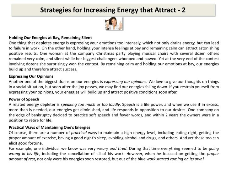 Strategies for Increasing Energy that Attract -