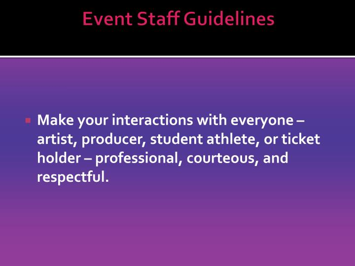 Event Staff Guidelines