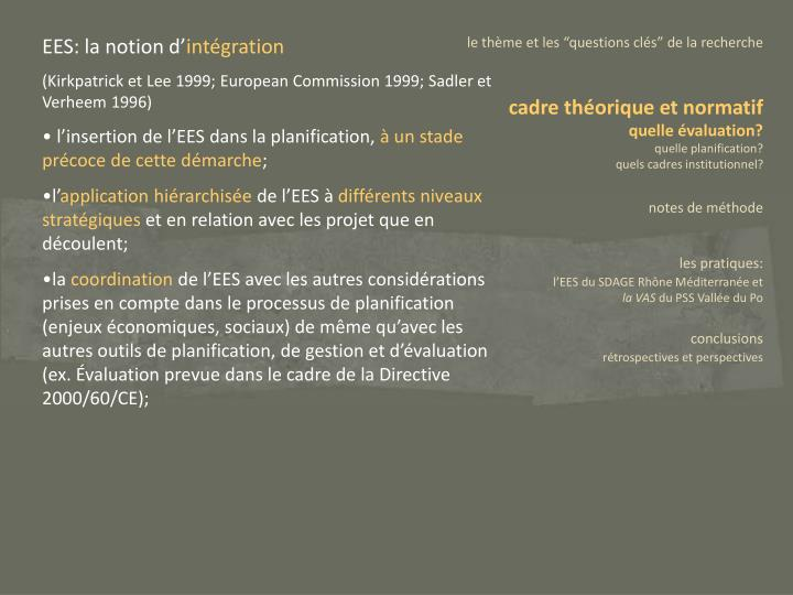 EES: la notion d'