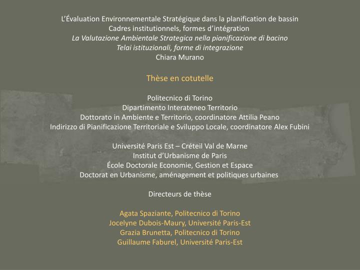 L'Évaluation Environnementale Stratégique dans la planification de bassin