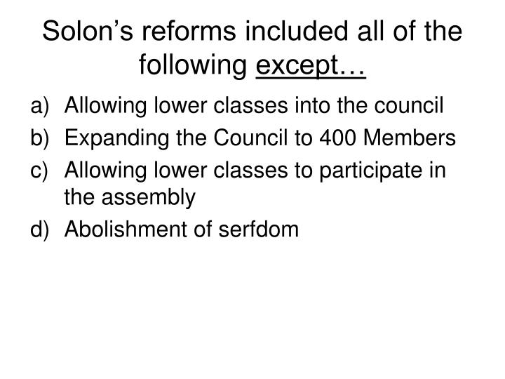 Solon's reforms included