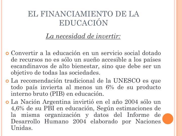 EL FINANCIAMIENTO DE LA EDUCACIÓN