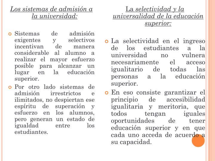 Los sistemas de admisión a la universidad: