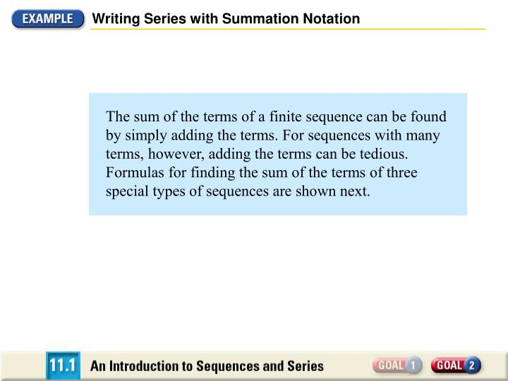 Writing Series with Summation Notation