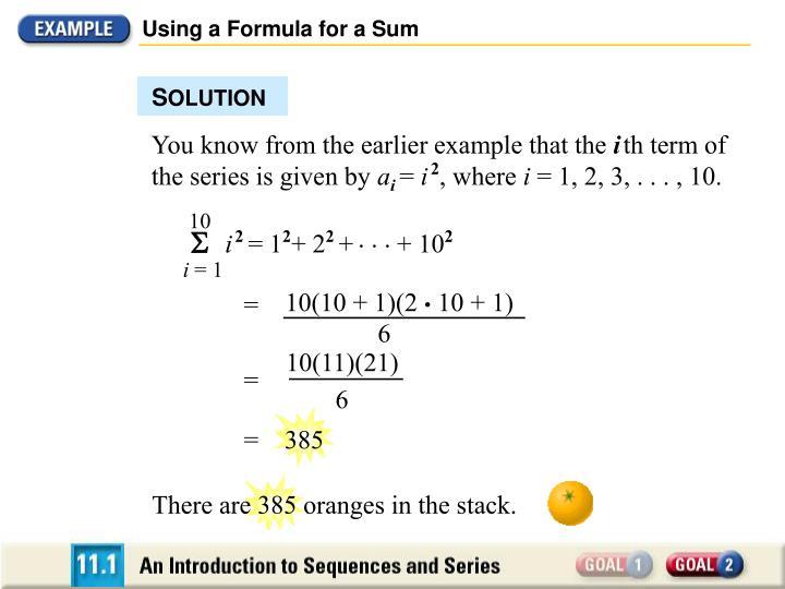 Using a Formula for a Sum