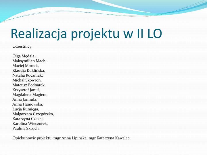 Realizacja projektu w II LO