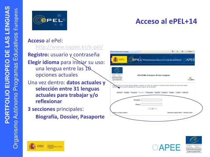 Acceso al ePEL+14