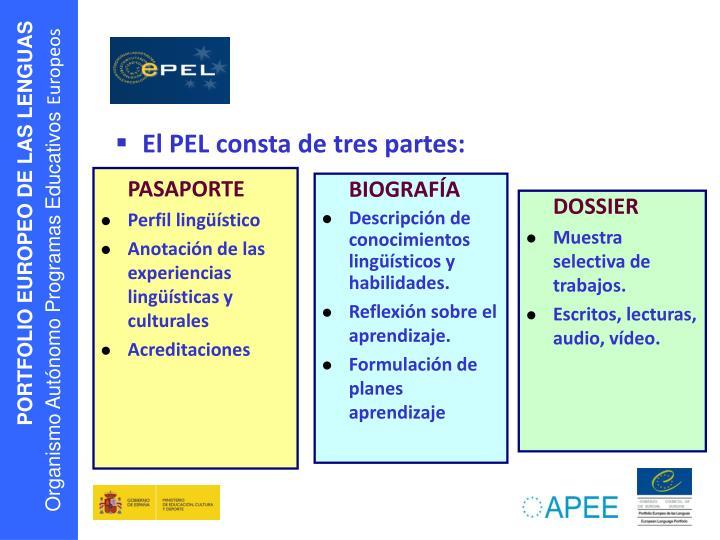 El PEL consta de tres partes:
