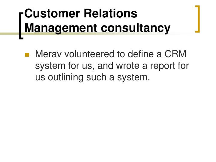 Customer Relations Management consultancy