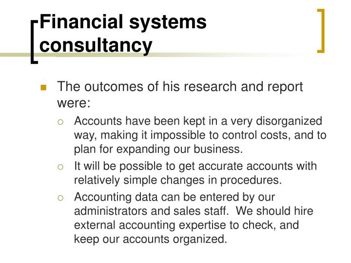 Financial systems consultancy