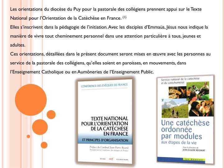 Les orientations du diocèse du Puy pour la pastorale des collégiens prennent appui sur le Texte National pour l'Orientation de la Catéchèse en France.