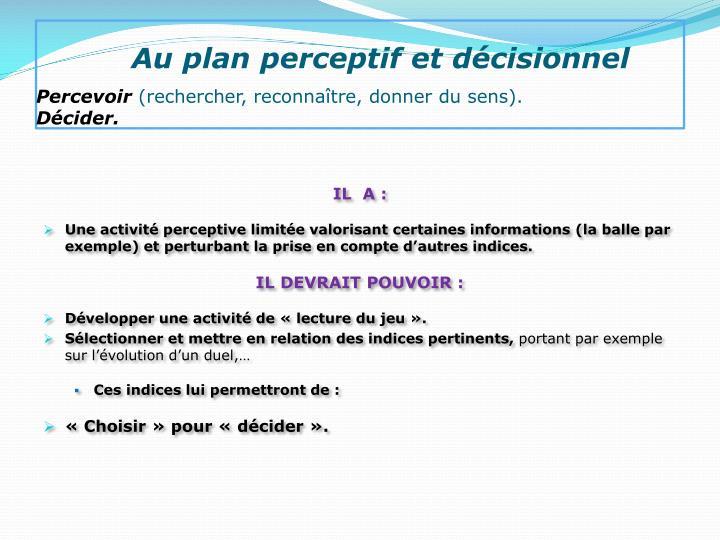 Au plan perceptif et décisionnel