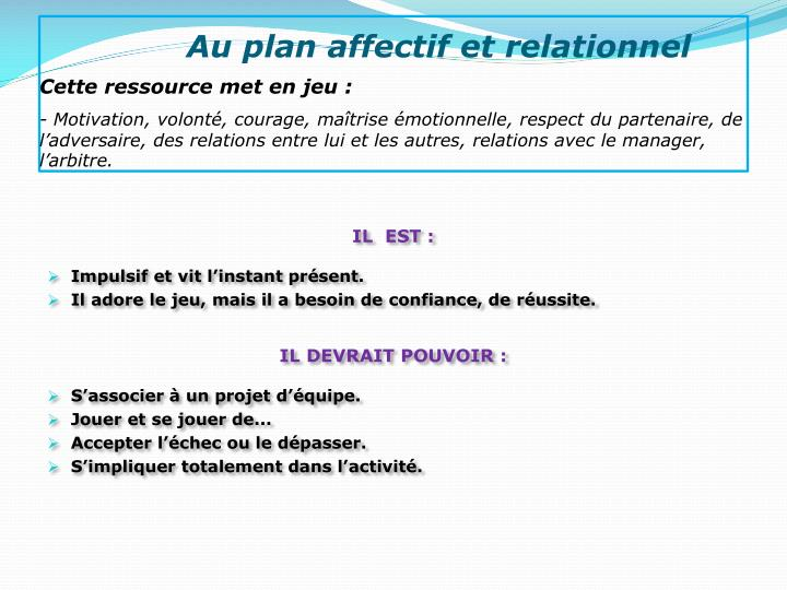 Au plan affectif et relationnel