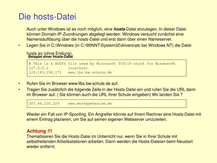 Die hosts-Datei