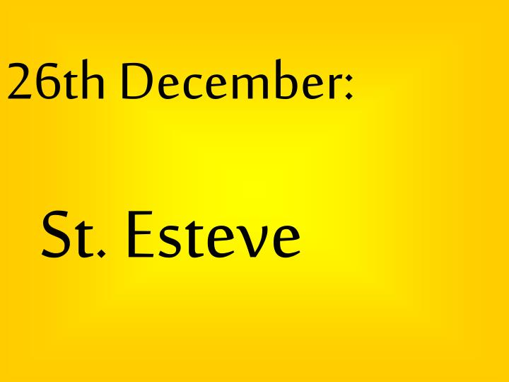 26th December: