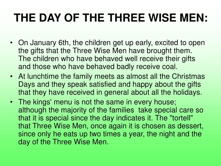 THE DAY OF THE THREE WISE MEN: