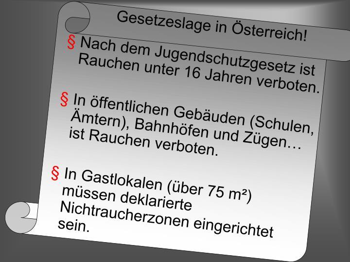 Gesetzeslage in Österreich!