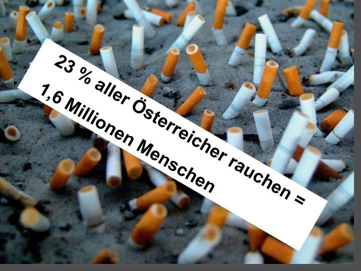 23 % aller Österreicher rauchen =