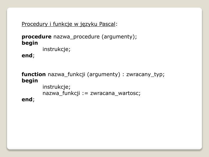 Procedury i funkcje w języku Pascal