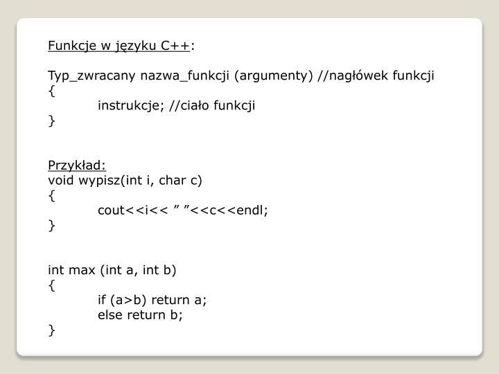 Funkcje w języku C++