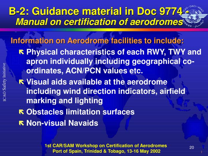 B-2: Guidance material in Doc 9774 -
