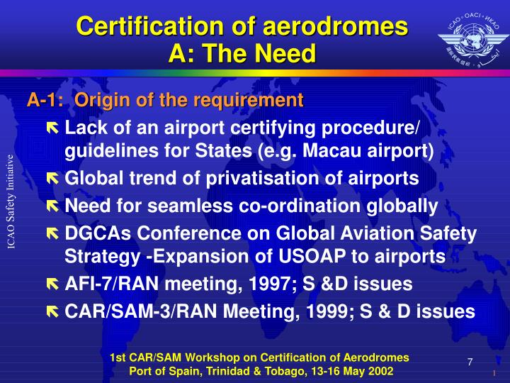 Certification of aerodromes