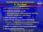 certification of aerodromes a the need3