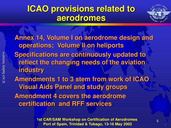 ICAO provisions related to aerodromes