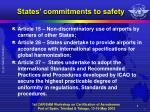 states commitments to safety