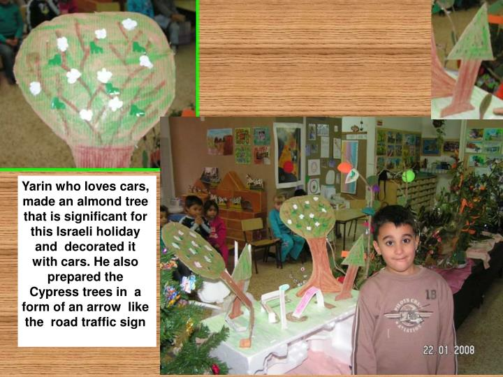 Yarin who loves cars, made an almond tree that is significant for this Israeli holiday and  decorated it with cars. He also prepared the Cypress trees in  a form of an arrow  like the  road traffic sign