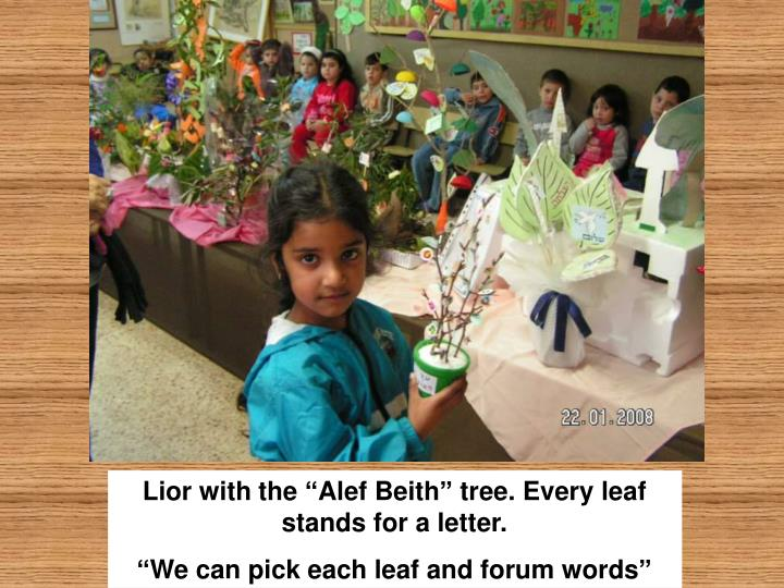"Lior with the ""Alef Beith"" tree. Every leaf stands for a letter."