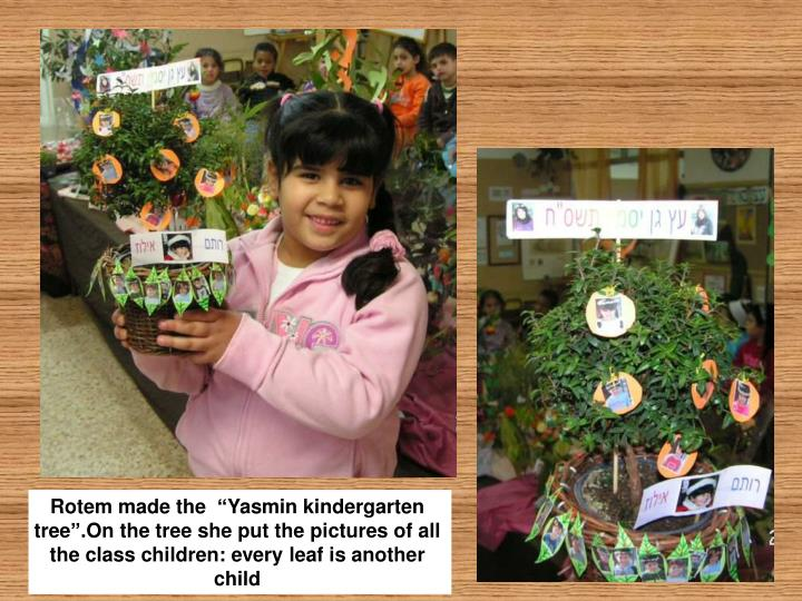 "Rotem made the  ""Yasmin kindergarten tree"".On the tree she put the pictures of all the class children: every leaf is another child"