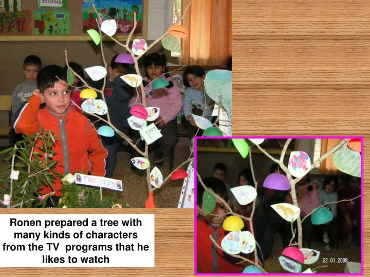 Ronen prepared a tree with many kinds of characters from the TV  programs that he likes to watch