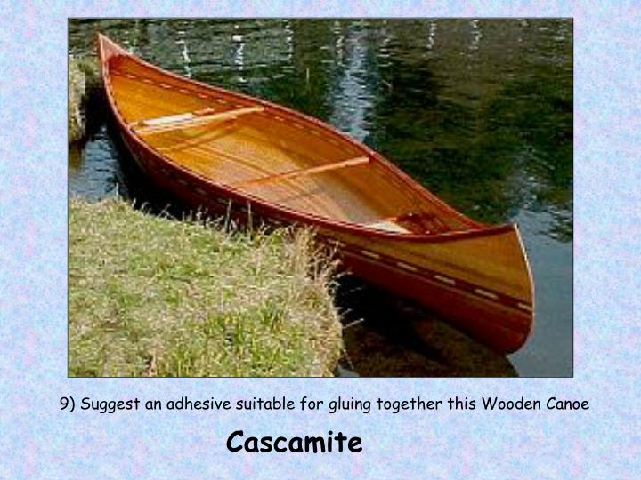 9) Suggest an adhesive suitable for gluing together this Wooden Canoe