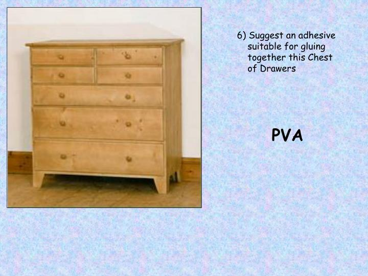 6) Suggest an adhesive suitable for gluing together this Chest of Drawers
