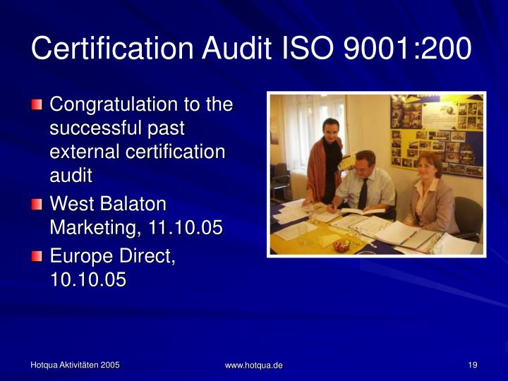 Certification Audit ISO 9001:200