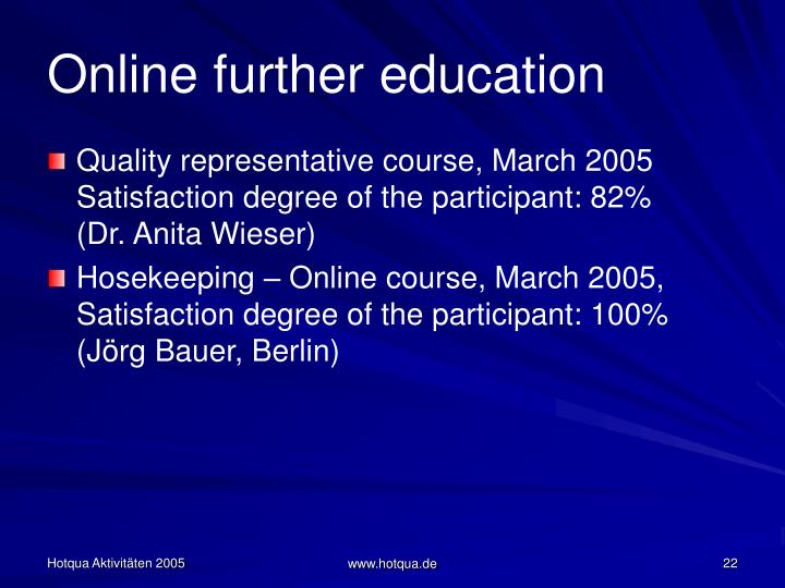 Online further education
