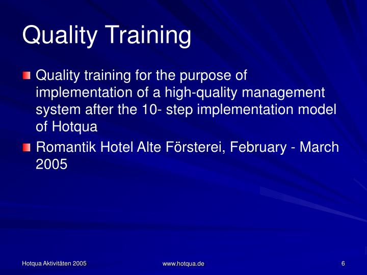 Quality Training