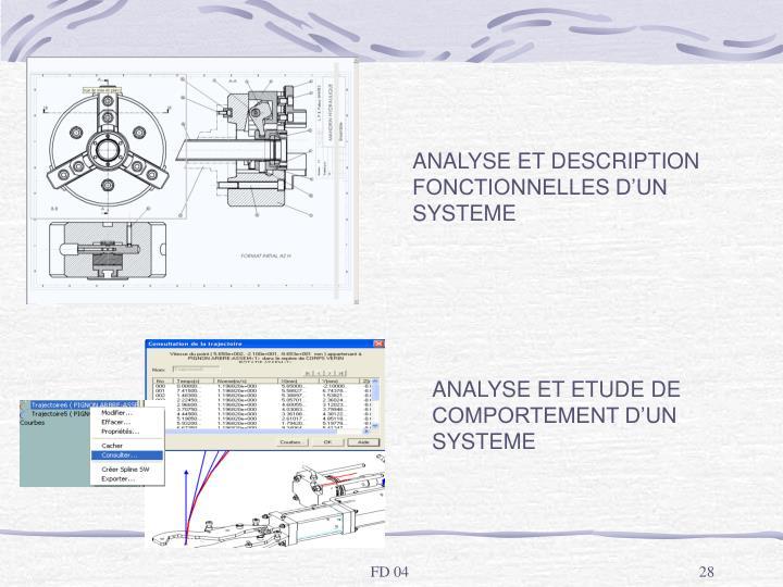ANALYSE ET DESCRIPTION FONCTIONNELLES D'UN SYSTEME