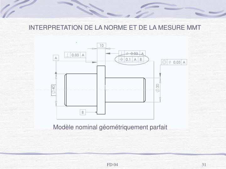INTERPRETATION DE LA NORME ET DE LA MESURE MMT