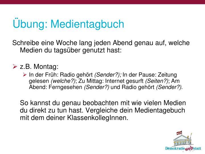 Übung: Medientagbuch