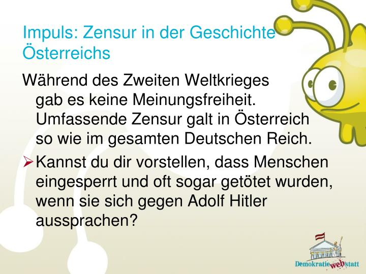 Impuls: Zensur in der Geschichte Österreichs