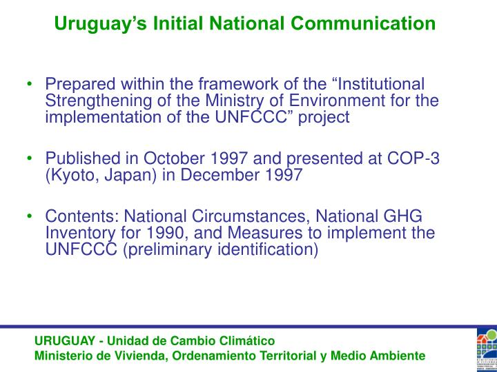 Uruguay's Initial National Communication