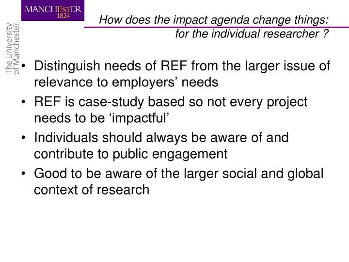 Distinguish needs of REF from the larger issue of relevance to employers' needs
