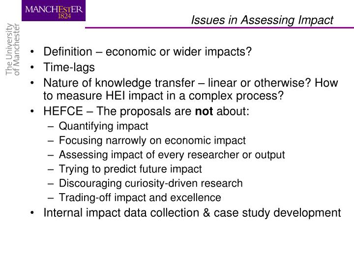 Definition – economic or wider impacts?