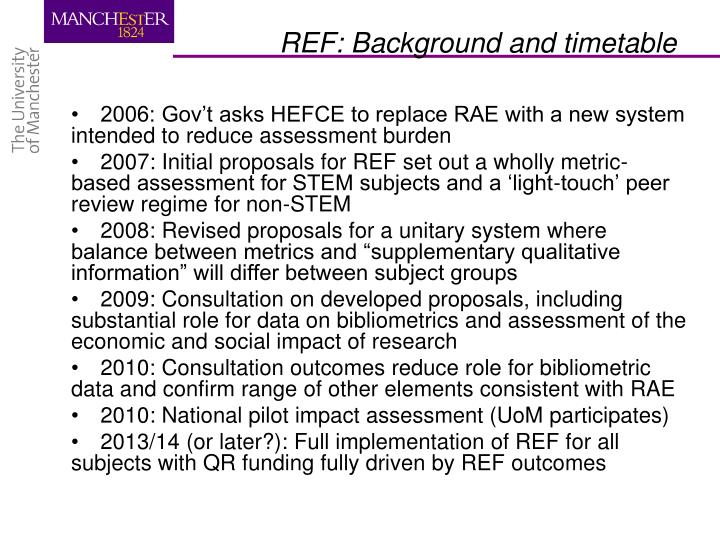 2006: Gov't asks HEFCE to replace RAE with a new system intended to reduce assessment burden