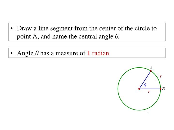 Draw a line segment from the center of the circle to point A, and name the central angle