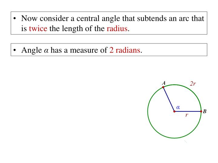 Now consider a central angle that subtends an arc that is