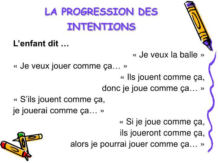 LA PROGRESSION DES INTENTIONS